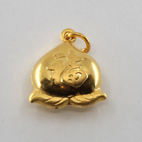 24K Solid Yellow Gold Puffy Longevity Pear Hollow Pendant 4.1 Grams