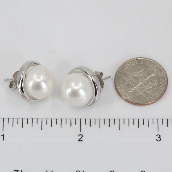 14K White Gold White Culture Pearl Stud Earrings 5.7 Grams