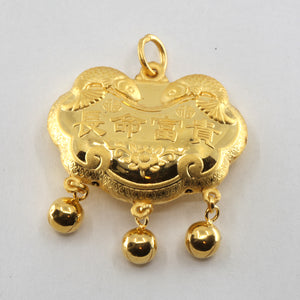 24K Solid Yellow Gold Baby Puffy Longevity Lock with Bells Hollow Pendant 9.1 Grams