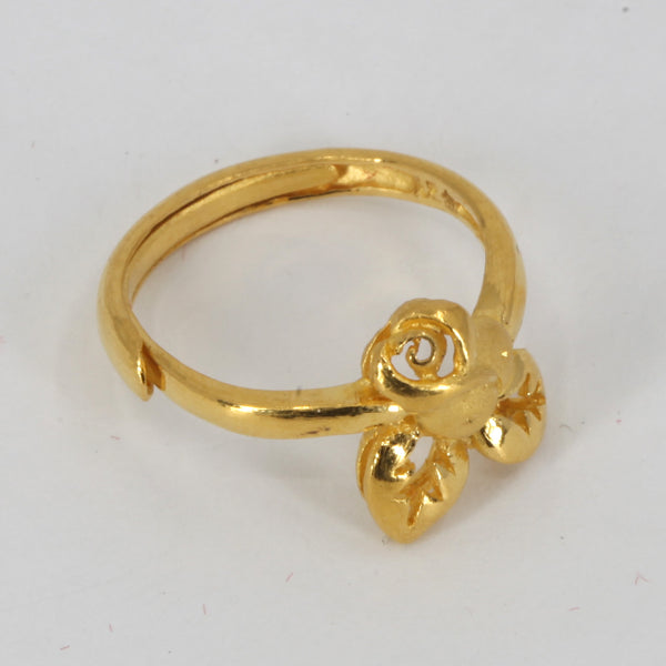 24K Solid Yellow Gold Women Rose Adjustable Ring Band 4.0 Grams