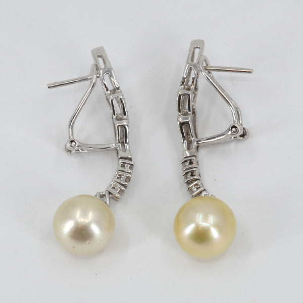 18K White Gold Diamond South Sea White Pearl Hanging French Clip Earrings D0.40 CT