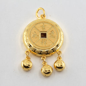 24K Solid Yellow Gold Baby Puffy Longevity Lock with Bells Hollow Pendant 9.5 Grams