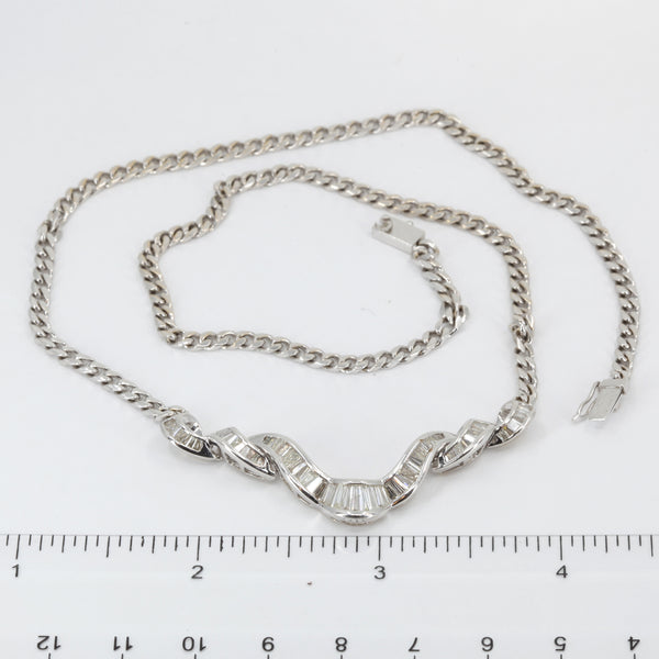 18K Solid White Gold Diamond Necklace 1.68 CT