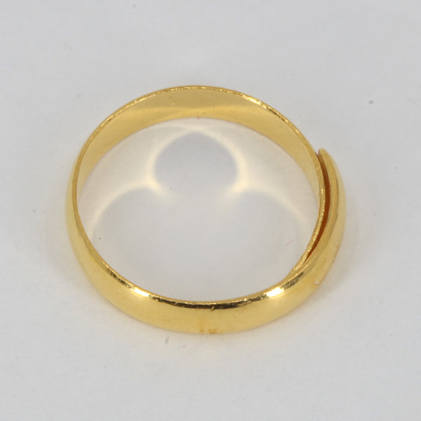 24K Solid Yellow Gold Men Women Ring Plain Adjustable Band 4.3 Grams