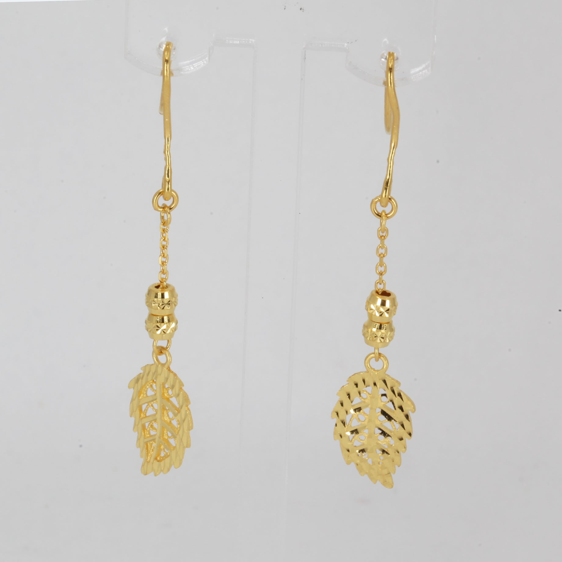 24K Solid Yellow Gold Leaf Hanging Earrings 4.1 Grams