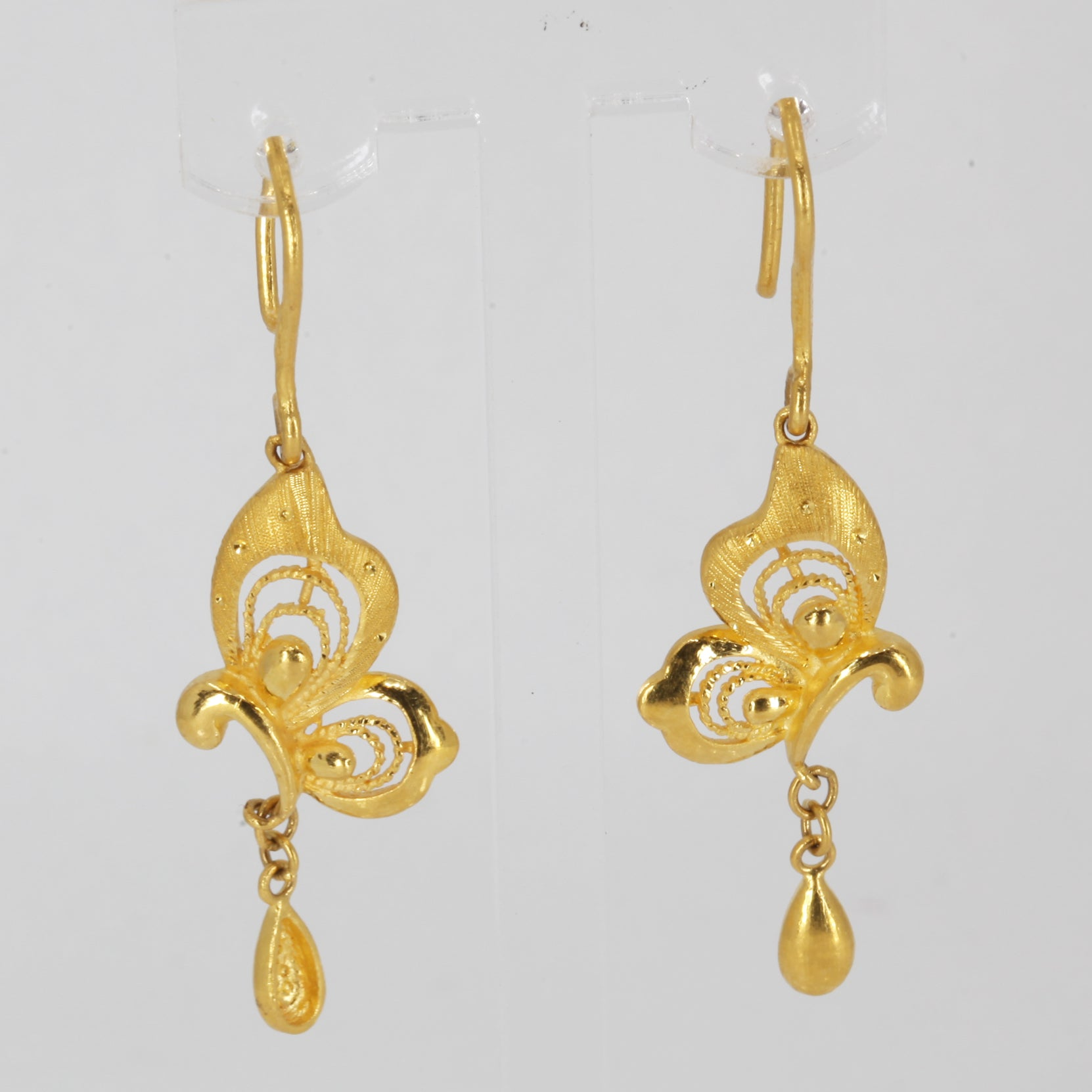 24K Solid Yellow Gold Butterfly Hanging Earrings 7.4 Grams