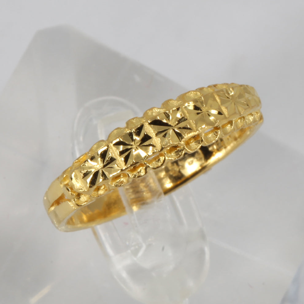 24K Solid Yellow Gold Women Ring Band 3.5 Grams