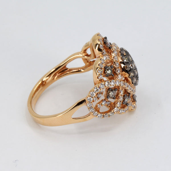 18K Rose Gold Diamond Cocktail Ring 1.32 CT