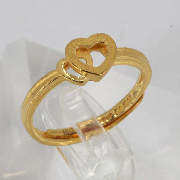 24K Solid Yellow Gold Women Double Heart Ring Band 3.1 Grams