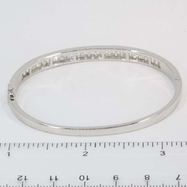 14K Solid White Gold Diamond Bangle 4.35 CT