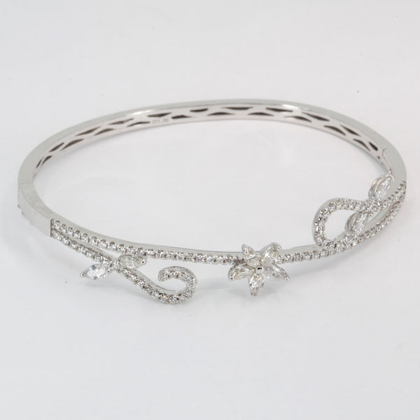 18K Solid White Gold Diamond Bangle 1.80 CT