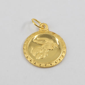 24K Solid Yellow Gold Round Zodiac Rabbit Hollow Pendant 0.9 Grams