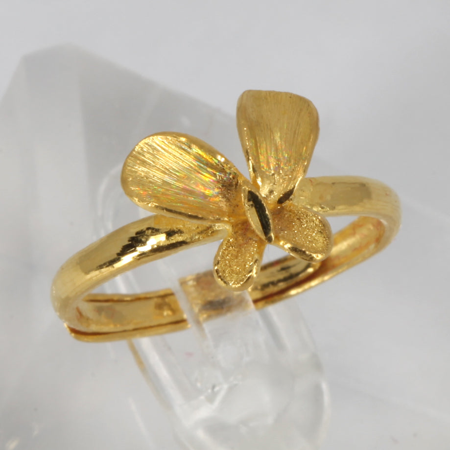 24K Solid Yellow Gold Women Butterfly Adjustable Ring Band 3.7 Grams