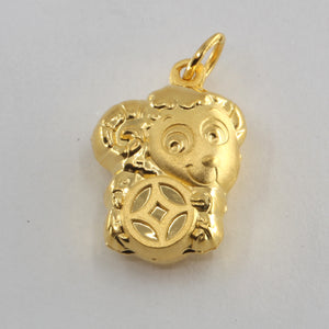 24K Solid Yellow Gold Puffy Zodiac Sheep Goat Hollow Pendant 3.2 Grams