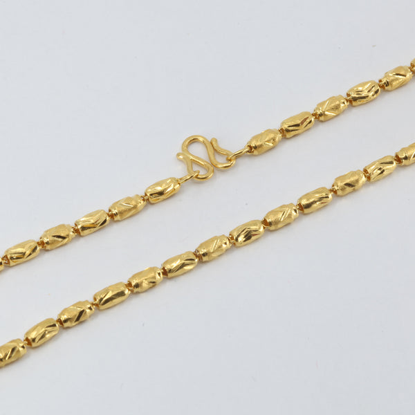 24K Solid Yellow Gold Barrel Link Chain 9 Grams
