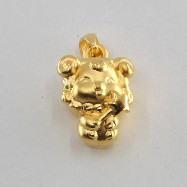 24K Solid Yellow Gold Puffy Zodiac Sheep Goat Hollow Pendant 2.0 Grams
