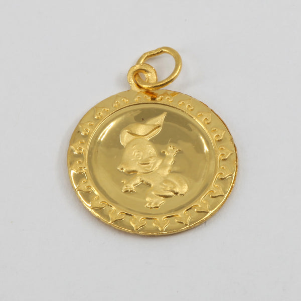 24K Solid Yellow Gold Round Zodiac Rabbit Hollow Pendant 1.1 Grams