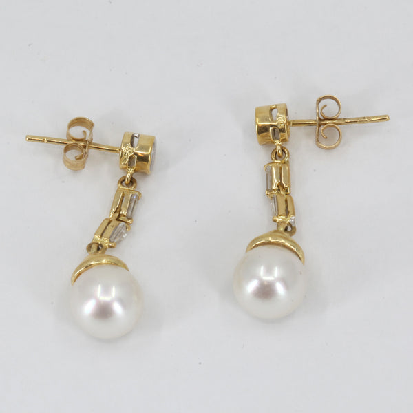 18K Yellow Gold Diamond White Culture Pearl Hanging Earrings D0.38 CT
