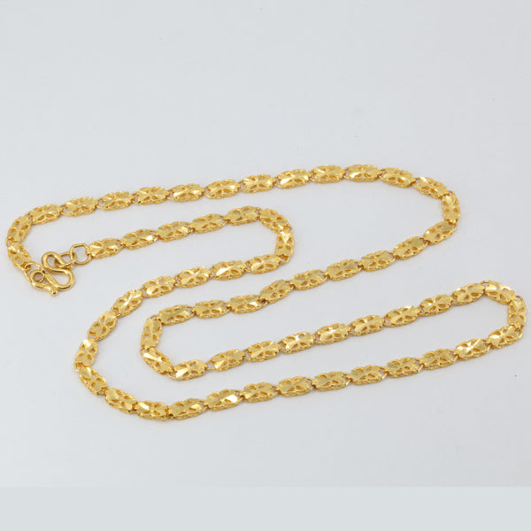 24K Solid Yellow Gold Wheat Link Chain 10.1 Grams