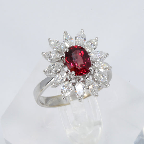 18K White Gold Diamond Women Ruby Ring D1.55CT
