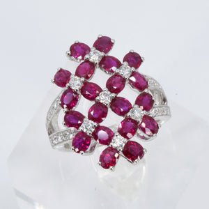 18K White Gold Diamond Women Ruby Ring D0.61CT