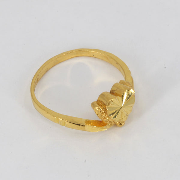 24K Solid Yellow Gold Women Heart Ring Band 4.1 Grams
