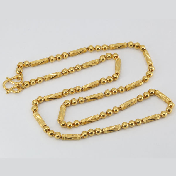 24K Solid Yellow Gold Barrel Link Chain 26 Grams