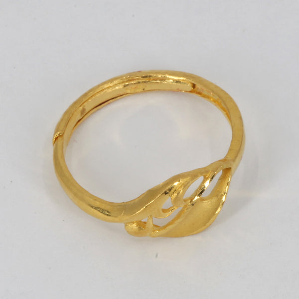 24K Solid Yellow Gold Women Design Adjustable Ring Band 3.1 Grams