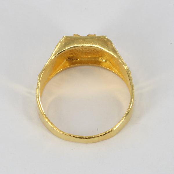 24K Solid Yellow Gold Men Blessing Ring Band 6.1 Grams