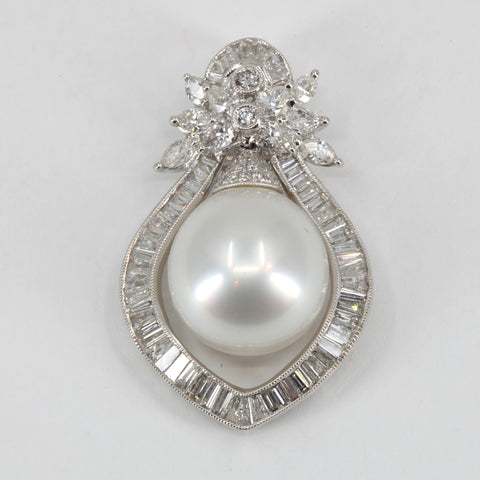 18K White Gold Diamond South Sea White Pearl Pendant D1.88 CT