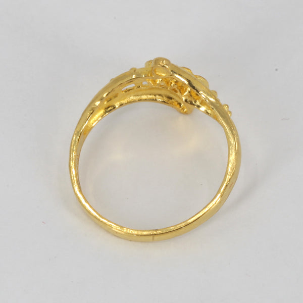 24K Solid Yellow Gold Women Design Ring Band 3.1 Grams