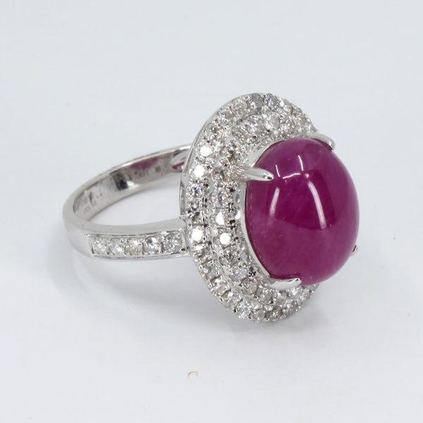 18K White Gold Women Diamond Cabochon Ruby Ring R8.83CT D0.98CT