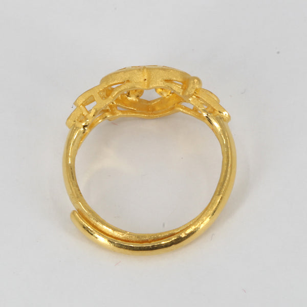 24K Solid Yellow Gold Women Heart Adjustable Ring Band 4.0 Grams