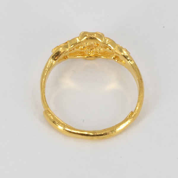 24K Solid Yellow Gold Women Design Ring Band 3.9 Grams