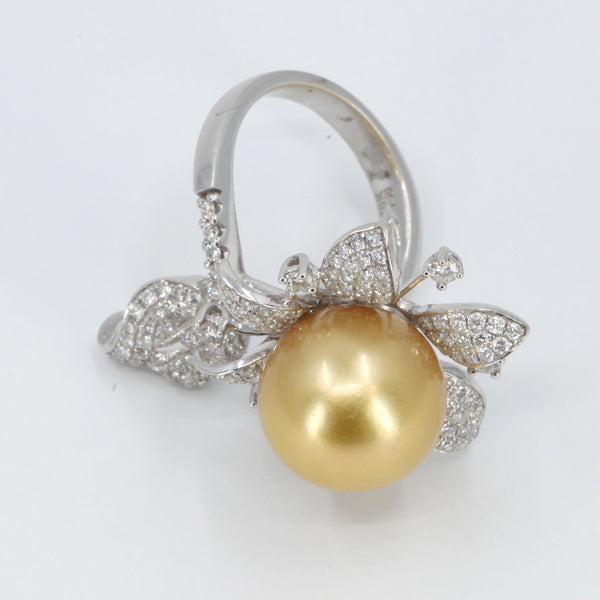 18K White Gold Diamond South Sea Gold Pearl Ring D1.46 CT