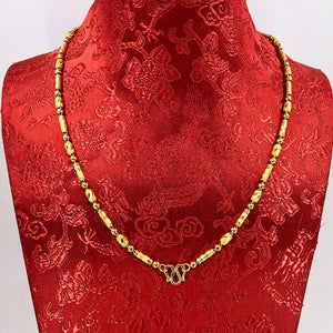 24K Solid Yellow Gold Barrel Link Chain 24.7 Grams 9999