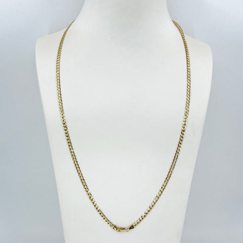 "14K Solid Yellow Gold Flat Cubin Link Chain 24"" 6.1 Grams"