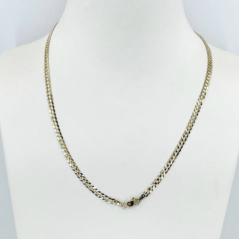 "14K Solid Yellow Gold Flat Cubin Link Chain 18"" 6.9 Grams"