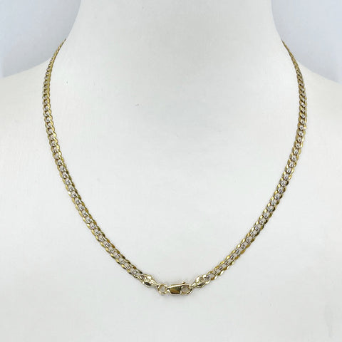 "14K Solid Yellow Gold Flat Stone Cut Cubin Link Chain 16"" 6.5 Grams"