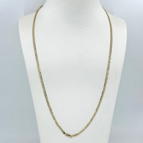 "14K Solid Yellow Gold Flat Stone Cut Cubin Link Chain 24"" 7.6 Grams"