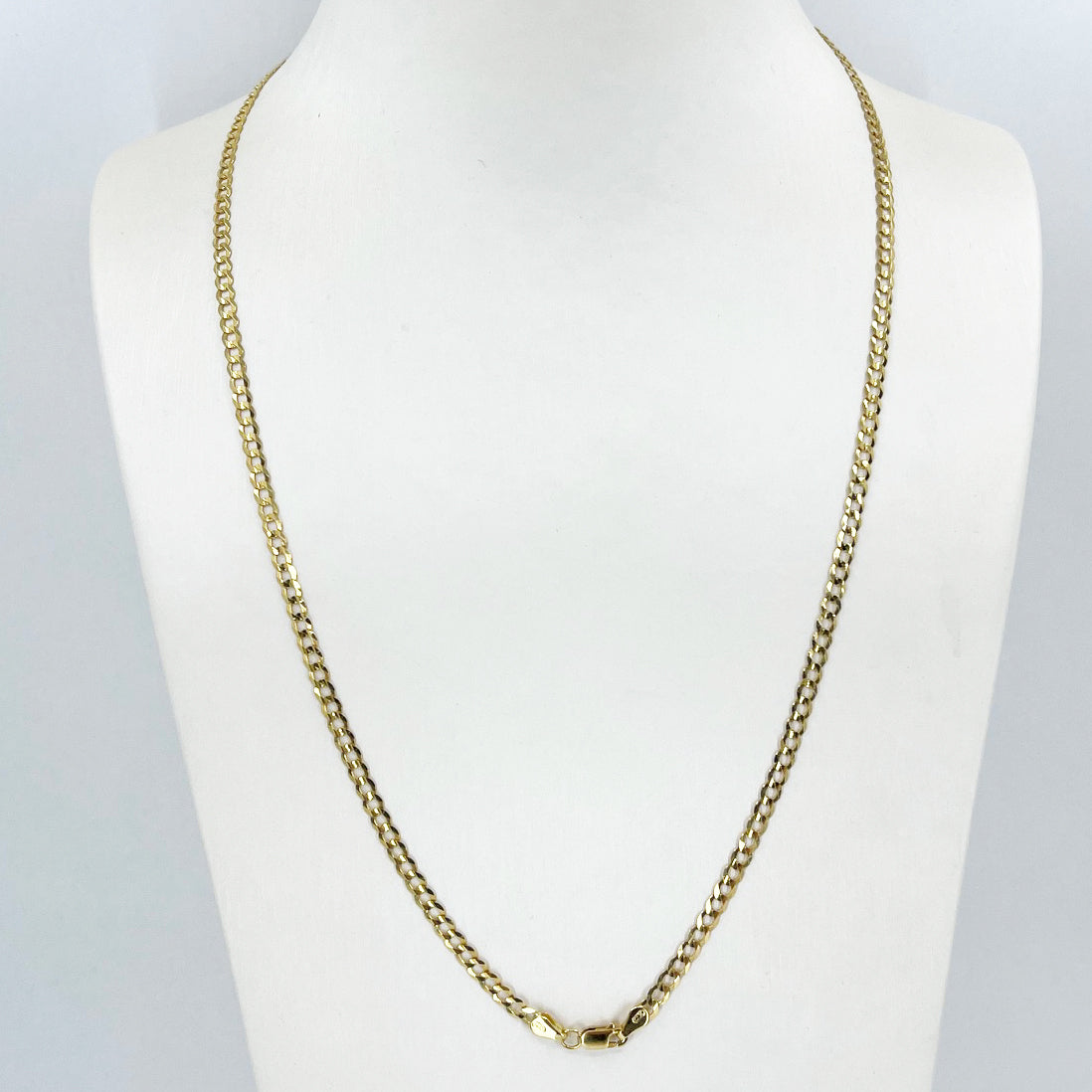 "14K Solid Yellow Gold Flat Cuban Link Chain 22"" 5.6 Grams"