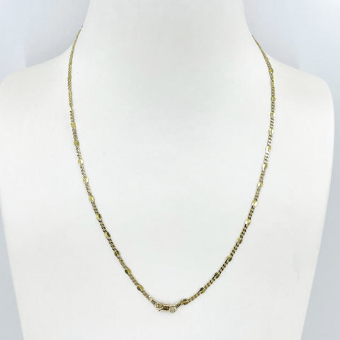 "14K Solid Yellow Gold Flat Design Cubin Link Leaf Chain 18"" 3.2 Grams"