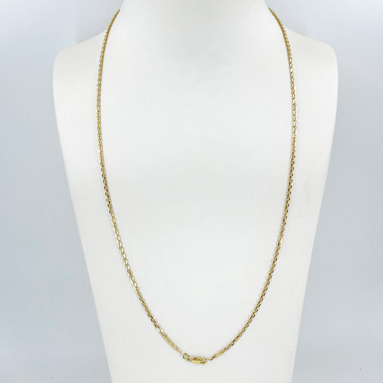 "14K Solid Yellow Gold Design Square Link Chain 24"" 7.3 Grams"