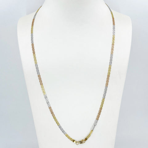 "14K Solid Tri-Color Gold Flat Link Chain 24"" 8.5 Grams"