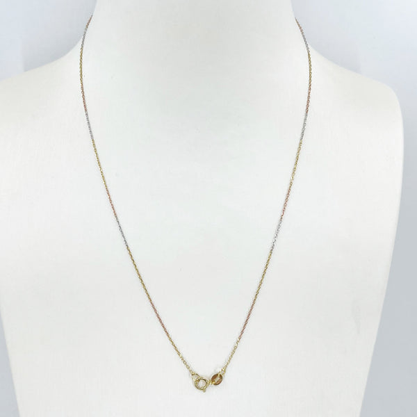 "18K Solid Tri-Color Gold Thin Square Link Chain 18"" 1.0 Grams"