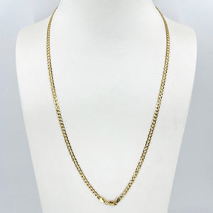 "14K Solid Yellow Gold Flat Cubin Link Chain 22"" 5.6 Grams"