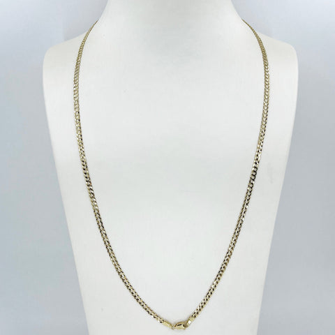 "14K Solid Yellow Gold Flat Cubin Link Chain 24"" 7.3 Grams"