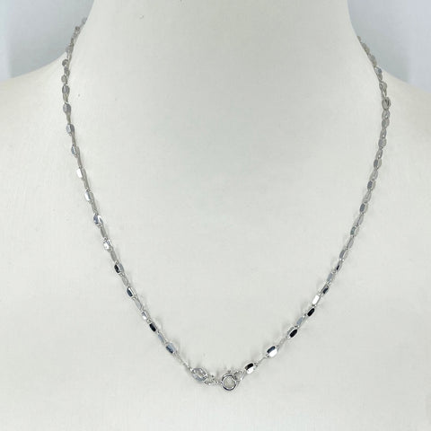 "14K Solid White Gold Design Link Chain 16"" 1.5 Grams"