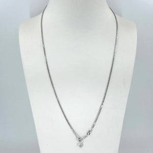 "18K Solid White Gold Adjustable Wheat Link Chain Maximum 22"" 6.0 Grams"