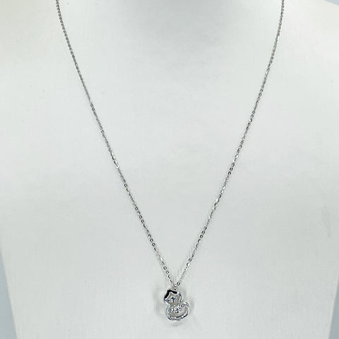 "18K Solid White Gold Round Link Chain Necklace with Diamond Gourd Pendant 16"" - 18"" D0.06CT"